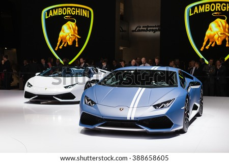 GENEVA, SWITZERLAND - MARCH 1: Geneva Motor Show on March 1, 2016 in Geneva, Lamborghini Huracan LP 610-4 Avio, front view - stock photo