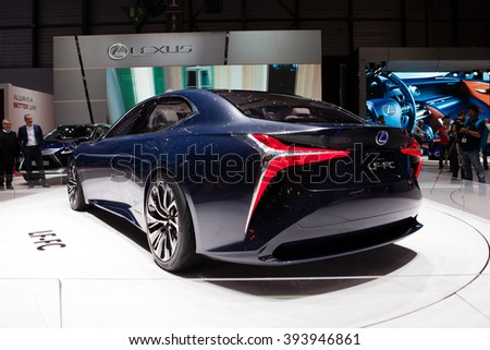 GENEVA, SWITZERLAND - MARCH 1: Geneva Motor Show on March 1, 2016 in Geneva, Lexus LF-FC Concept, rear-side view - stock photo