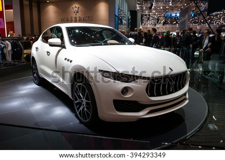 GENEVA, SWITZERLAND - MARCH 1: Geneva Motor Show on March 1, 2016 in Geneva, Maserati Levante, front-side view