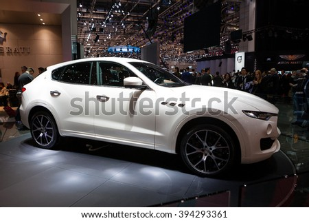 GENEVA, SWITZERLAND - MARCH 1: Geneva Motor Show on March 1, 2016 in Geneva, Maserati Levante, side view - stock photo