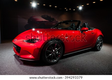 GENEVA, SWITZERLAND - MARCH 1: Geneva Motor Show on March 1, 2016 in Geneva, Mazda MX-5, front-side view - stock photo