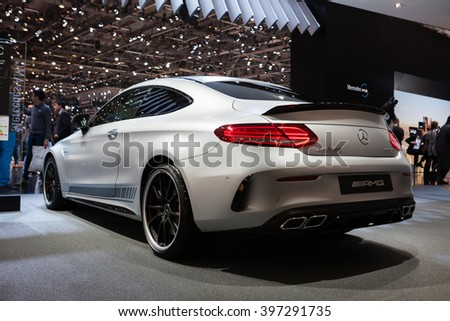 GENEVA, SWITZERLAND - MARCH 1: Geneva Motor Show on March 1, 2016 in Geneva, Mercedes-AMG C 63 S Coupe, rear-side view - stock photo
