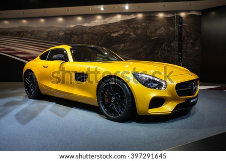 GENEVA, SWITZERLAND - MARCH 1: Geneva Motor Show on March 1, 2016 in Geneva, Mercedes-AMG GT, side-front view - stock photo