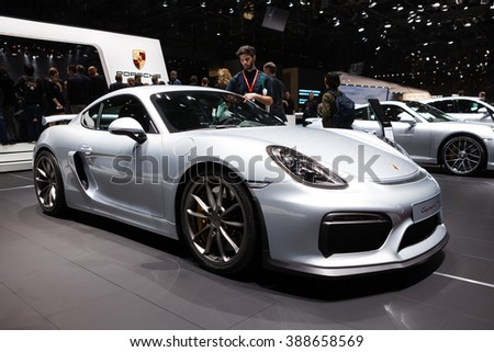 GENEVA, SWITZERLAND - MARCH 1: Geneva Motor Show on March 1, 2016 in Geneva, Porsche Cayman GT4, front-side view - stock photo