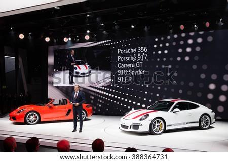 GENEVA, SWITZERLAND - MARCH 1: Geneva Motor Show on March 1, 2016 in Geneva, Porsche 911 R and 718 Boxster premiere and executive speech - stock photo