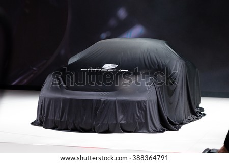 GENEVA, SWITZERLAND - MARCH 1: Geneva Motor Show on March 1, 2016 in Geneva, Porsche 911 R, under cover before premiere - stock photo