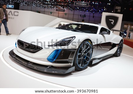 GENEVA, SWITZERLAND - MARCH 1: Geneva Motor Show on March 1, 2016 in Geneva, Rimac Concept S, front-side view