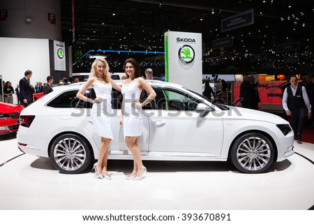 GENEVA, SWITZERLAND - MARCH 1: Geneva Motor Show on March 1, 2016 in Geneva, Skoda Superb Estate, front-side view - stock photo