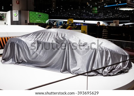 GENEVA, SWITZERLAND - MARCH 1: Geneva Motor Show on March 1, 2016 in Geneva, Techrules AT96 TREV Concept, under cover before premiere - stock photo