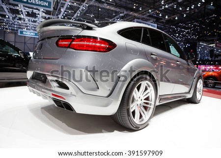 Geneva, Switzerland - March 1, 2016: Hamann Mercedes-Benz GLE Coupe, rear-side view presented on the 86th Geneva Motor Show in the PalExpo - stock photo