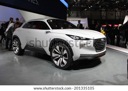 GENEVA, SWITZERLAND - MARCH 4, 2014: 2014 Hyundai Intrado Concept presented at the 84th International Geneva Motor Show on March 4, 2014 in Palexpo, Geneva, Switzerland