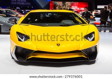 GENEVA, SWITZERLAND - MARCH 4, 2015: Lamborghini Aventador LP 750-4 SuperVeloce revealed at the 85th International Geneva Motor Show in Palexpo, Geneva - stock photo