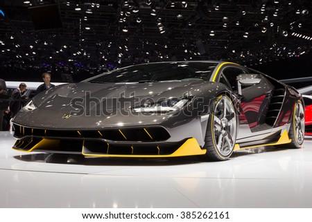 GENEVA, SWITZERLAND - MARCH 1, 2016: Lamborghini LP770-4 Centenario unveiled at the 86th International Geneva Motor Show in Palexpo, Geneva. - stock photo