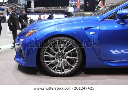 GENEVA, SWITZERLAND - MARCH 4, 2014: 2014 Lexus RC F presented at the 84th International Geneva Motor Show on March 4, 2014 in Palexpo, Geneva, Switzerland