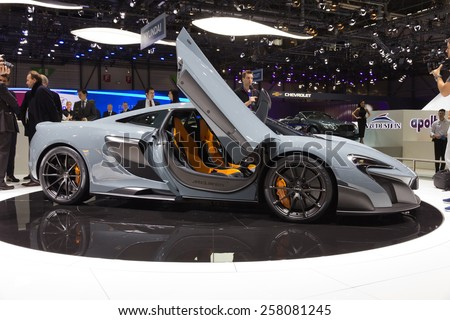 GENEVA, SWITZERLAND - MARCH 4, 2015: McLaren 675LT reveiled at the 85th International Geneva Motor Show in Palexpo. - stock photo
