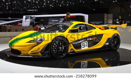 GENEVA, SWITZERLAND - MARCH 3, 2015: McLaren P1 GTR unveiled at the 85th International Geneva Motor Show in Palexpo. - stock photo