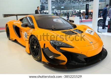 GENEVA, SWITZERLAND - MARCH 2, 2016: McLaren 650S GT3 racer sports car shown at the 86th International Geneva  Motor Show in Palexpo, Geneva. - stock photo