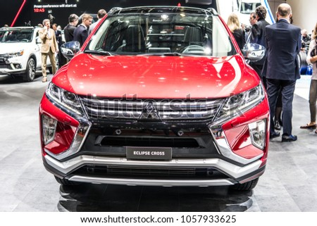Geneva, Switzerland, March 06, 2018: Metallic Red Mitsubishi Eclipse Cross  At 88th