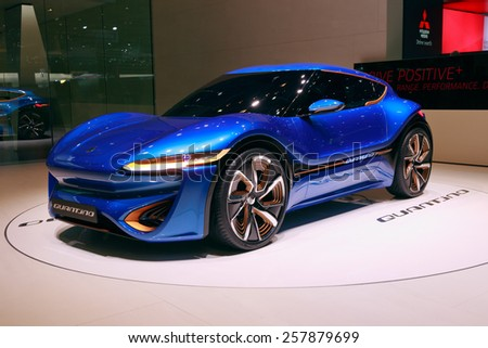 GENEVA, SWITZERLAND - MARCH 4, 2015: NanoFlowcell Quant F Quantino concept car at the 85th International Geneva Motor Show in Palexpo.  - stock photo