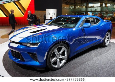 GENEVA, SWITZERLAND - MARCH 2, 2016: New 2016 Chevrolet Camaro  at the 86th International Geneva Motor Show in Palexpo, Geneva. - stock photo