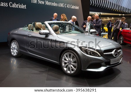 GENEVA, SWITZERLAND - MARCH 1, 2016: New 2017 Mercedes-AMG C43 Cabriolet at the 86th International Geneva Motor Show in Palexpo, Geneva. - stock photo