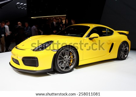 GENEVA, SWITZERLAND - MARCH 4, 2015: New 2016 Porsche Cayman GT4  unveiled at the 85th International Geneva Motor Show in Palexpo. - stock photo