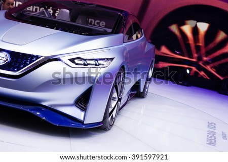 Geneva, Switzerland - March 1, 2016: Nissan IDS Concept, front closeup view presented on the 86th Geneva Motor Show in the PalExpo - stock photo