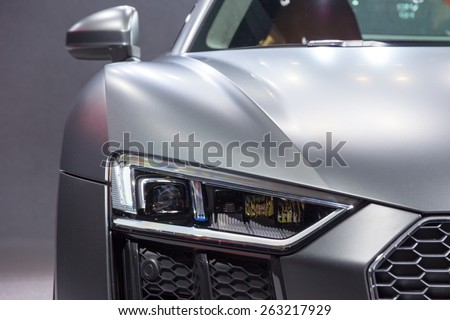 GENEVA, SWITZERLAND - MARCH 4, 2015: Official debut of the New Audi R8 V10 Plus at the 85th International Geneva Motor Show in Palexpo, Geneva. - stock photo