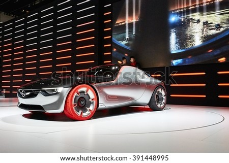 Geneva, Switzerland - March 1, 2016: 2016 OpelGT presented on the 86th Geneva Motor Show in the PalExpo
