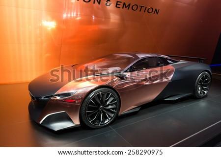 GENEVA, SWITZERLAND - MARCH 3, 2015: Peugeot Onyx at the 85th International Geneva Motor Show in Palexpo. - stock photo