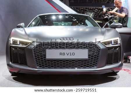 GENEVA, SWITZERLAND - MARCH 3, 2015: The Audi R8 V10 sports car. Launched at the Geneva Motor Show, it can achieve 0 to 100 km/h (62.1 mph) in just 3.2 seconds, its top speed is 330 km/h (205.1 mph). - stock photo