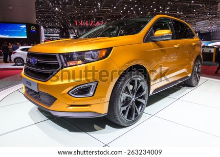 GENEVA, SWITZERLAND - MARCH 4, 2015: The new Ford Edge presented at the 85th International Geneva Motor Show in 