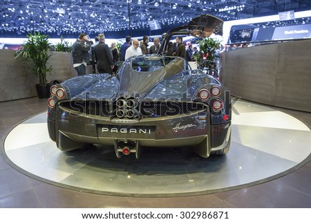GENEVA, SWITZERLAND â?? MARCH 3, 2015: The Pagani Huarya at the Geneva Motor Show. It has a Mercedes-AMG engine with 730 HP. Only 100 were made and all sold at an estimated price of US$ 1.4m each.