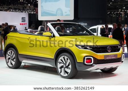 GENEVA, SWITZERLAND - MARCH 1, 2016: Volkswagen T-Cross Breeze cconvertible crossover debuts at the 86th International Geneva Motor Show in Palexpo, Geneva. - stock photo