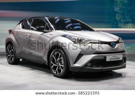 GENEVA, SWITZERLAND - MARCH 2, 2016: World premiere of the new Toyota C-HR at the 85th International Geneva  Motor Show in Palexpo, Geneva. - stock photo