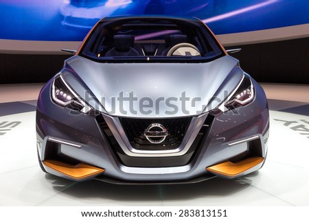 GENEVA, SWITZERLAND - MARCH 4, 2015: World Premiere of the Nissan Sway at the 85th International Geneva Motor Show in Palexpo, Geneva. - stock photo