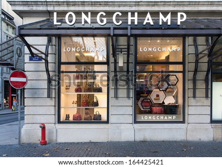 GENEVA, SWITZERLAND - NOVEMBER 3: A Lonchamp store November 3, 2013, Geneva, Switzerland. Longchamp is distributed in 100 countries through 1,800 retail stores and had revenue of 454m Euros in 2012.
