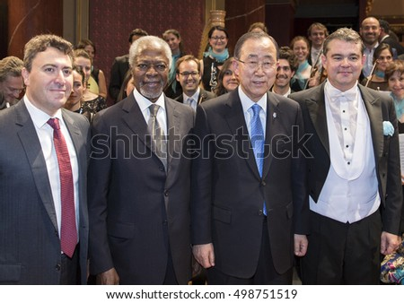 GENEVA, SWITZERLAND   OCTOBER 2, 2016: Violinist Maxim Vengerov, former UN SG Kofi Annan, UN SG Ban Ki-moon and conductor Antoine Marguier pose after the UN Orchestra concert at the Victoria Hall.