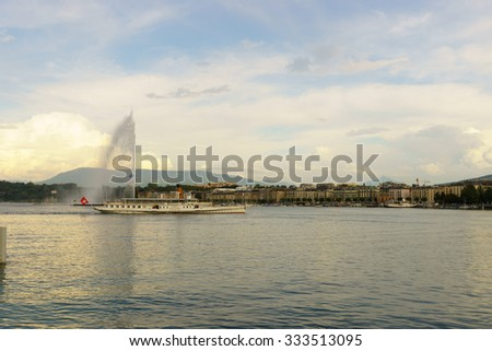 GENEVA, SWITZERLAND - SEPTEMBER 14, 2014: CGN paddle steamer. Lake Geneva General Navigation Company is a public Swiss company operating boats on Lake Geneva