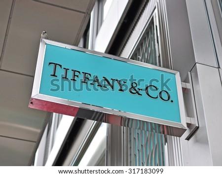 GENEVA, SWITZERLAND - SEPTEMBER 3: Logo of Tiffany & Co store in the store in Geneva on September 3, 2015. Tiffany&Co is an American worldwide luxury jewelry and specialty retailer - stock photo
