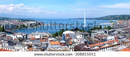 Geneva, the Leman Lake and the Water jet - stock photo