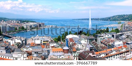 Geneva, the Leman Lake and the Water jet, panoramic imatge  - stock photo