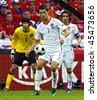 GENEVE - JUNE 11: Petr Cech n.1 Czech Republic, Cristiano Ronaldo n.7,Nuno Gomes n.21 Portugal match Czech Republic-Portugal 1:3 Euro2008 GroupA June 11, 2008, Stade de Geneve, Geneve, Switzerland - stock photo