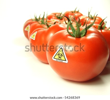 Genfood with special label signs - stock photo