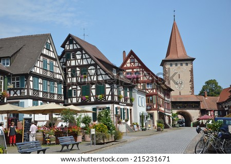 GENGENBACH - August 6: view of buildings in the town of Gengenbach, Germany on August 6, 2013. The town is famous for hosting the world's biggest advent calendar and is a popular tourist destination.  - stock photo