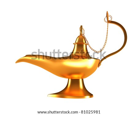 Genie golden lamp isolated over white background