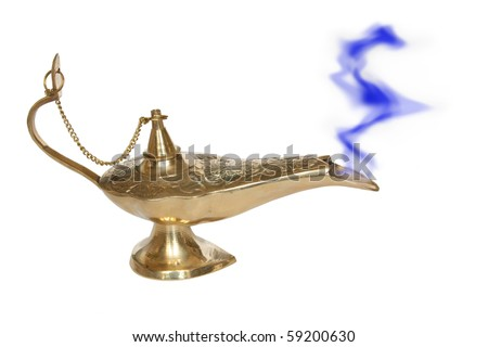 Genie lamp with a smoke - symbol of the rapid success. Isolated on white - stock photo