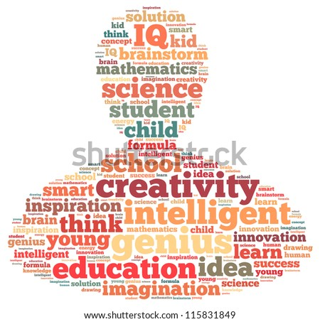 Genius info-text graphics and arrangement concept on white background (word cloud) - stock photo