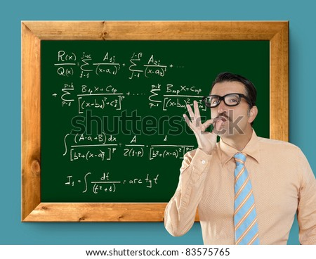 Genius nerd easy found the solution of a mathematical formula in blackboard [Photo Illustration]