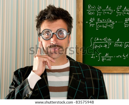 Genius nerd glasses silly man board math formula pensive gesture thinking expression [Photo Illustration] - stock photo